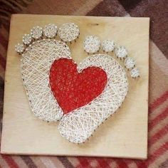 String art feet and heart