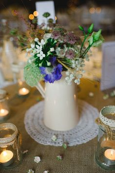 Wedding Jug Wild Flowers Doily http://karenflowerphotography.com/