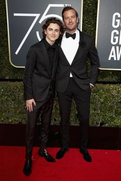 Timothee Chalamet and Armie Hammer attend The Annual Golden Globe Awards at The Beverly Hilton Hotel on January 2018 in Beverly Hills, California Beautiful Person, Beautiful Boys, Pretty Boys, Hottest Male Celebrities, Cute Celebrities, Slash Fiction, The Beverly, Beverly Hilton, Golden Globe Award