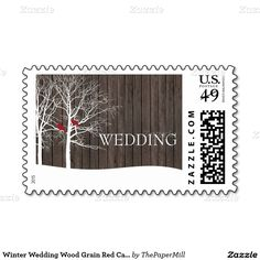 Winter Wedding Wood Grain Red Cardinals Trees Stamps