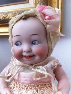Adorable German Antique Googly All Bisque My Fairy or Wide Awake Doll