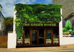 Unused proposal for a shop in Devon, England. Vertical wall garden, astroturf sign, Designed By Good People.