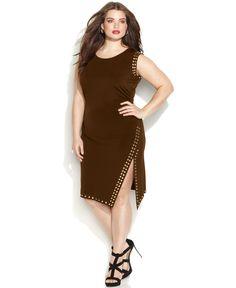 MICHAEL Michael Kors Plus Size Sleeveless Stud-Trim Sheath Dress