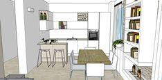 Progetto Living con cucina e tanti desideri – Mayday Casa Blog e Progetti Shelving, Divider, Floor Plans, Loft, Interior Design, Kitchen, Furniture, Home Decor, Anna