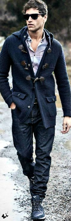 Navy Knit Jacket, and Dark Denim Jeans, Armani Jeans. Men's Fall Winter Fashion.