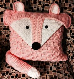 Crochet Pillow Cover Felix the Fox by camdencrochet on Etsy