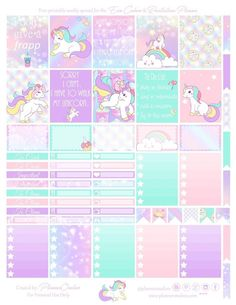 Free Printable Unicorn Planner Stickers from Planner Onelove To Do Planner, Free Planner, Planner Pages, Happy Planner, 2018 Planner, Agenda Planner, Planner Layout, Unicorn Printables, Personal Planners
