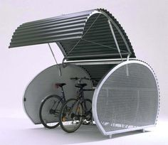 Bicycle Storage Solutions with Outdoor Bike Storage - MidCityEast Outdoor Bike Storage, Indoor Bike Rack, Garage Velo, Bike Locker, Cycle Shelters, Bike Shelter, Cycle Storage, Bike Hanger, Bicycle Store