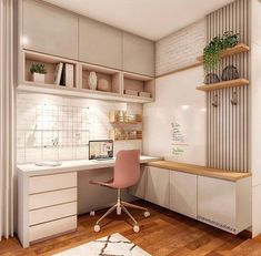 Veja aqui como montar o seu home office! #homeoffice #homeofficedecor #homeofficeapartamento Small Room Design Bedroom, Bedroom Cupboard Designs, Girl Bedroom Designs, Home Room Design, Office Interior Design, Home Office Decor, Living Room Decor Cozy, Bedroom Decor, Small Home Offices