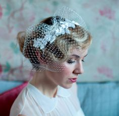 vintage headpiece and birdcage veilBeaded Leaves and by AgnesHart, $175.00