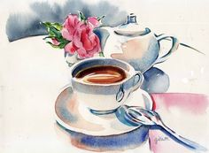 Paris breakfasts: july 2010 watercolor в 2019 г. Watercolor Food, Watercolor Illustration, Watercolor Paintings, Watercolors, Object Drawing, Food Painting, Tea Art, Home And Deco, Illustrations