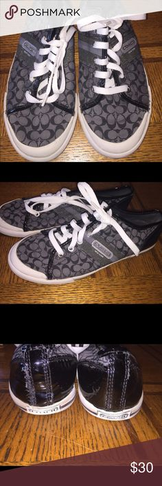 Super cute coach shoes size 8 , black white silver In good hardly wore condition back heal was restitched see photo ! Coach Shoes Sneakers