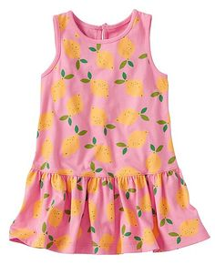 Supersoft little dress slips on in a wink and keeps her breezy-cool and way cute in a sweet, vintage print all the day long.  <br>•Expanded baby/toddler sizes = a perfect fit for every little one  <br>•100% cotton jersey <br>•Dropwaist <br>•Back keyhole button <br>•Certified by OEKO-TEX® Standard 100 | 03.U.9375 - FI Hohenstein  <br>•Prewashed <br>•Imported