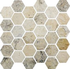 Gorgeous natural stone Causeway Travertine hexagon mosaic tiles look great in bathrooms