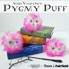 Pygmy Puffs are cute and adorable and oh, so magical…and now you can make your very own for a pet. I revisited our Pocket Pets – Worry Pets from last year with adorable pink fur to make some Pygmy Puffs inspired by our love of Harry Potter's magical world. They're so cute, you won't be able to make just one.