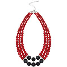 M&Co Colour Block Beaded Necklace (24 AUD) ❤ liked on Polyvore featuring jewelry, necklaces, red, double layer necklace, beaded jewelry, bead jewellery, red bead jewelry and chunky bead necklace