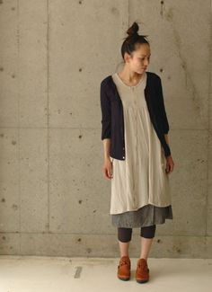 linen dress with black cardi