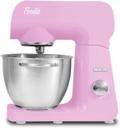 Sencor Full Metal 500W Stand Mixer with Variable Speed Control and 6 Specialized Attachments, 4.75 Qt, Cherry Blossom Pink #sencor #retroaesthetic #vintagelook #foodmixer #breadmixer #cakemixer  #kitchengadgets #kitchentool #birthdaygiftideas #bakingtools #bakingessentials #weddingregistry #giftforwife Kitchenaid Artisan Stand Mixer, Kitchenaid Food Processor, Kitchenaid Classic, Mixer Accessories, Stainless Steel Bowl, Thing 1, Mixers, Kitchen Aid Mixer