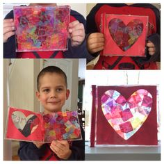 "Pre-School Valentine's Day craft. I took the black insert out of old CD/DVD cases, and the kids used glitter glue and cut up pieces of tissue to make a little mosaic art work on the inside. I put 4.75"" square paper ""CD covers"" with hearts cut out (thanks Cricut Mini!) on the other inside slot. I also used sticker ribbon from the dollar store on the outside.  Best part was they were able to close them up right away and put in their book bags, no need to wait until they dried to take them…"