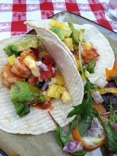 The Flying Fork: Michele's Shrimp Tacos Deluxe with pineapple salsa