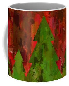Christmas Trees Coffee Mug featuring the digital art Christmas Trees on Festive Colors Background by Western Exposure | Our ceramic coffee mugs are available in two sizes: 11 oz. and 15 oz. Each mug is dishwasher and microwave safe. #holidayseason #holidaymug #redandgreen