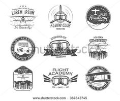 Vintage airplane emblems. Biplane labels. Retro Plane badges, design elements. Aviation stamps collection. Airshow logo and logotype. Fly propeller, goggles, old icon, patches isolated. Vector