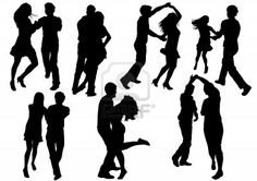 Vector drawing dancing couples. Silhouettes on white background Stock Photo