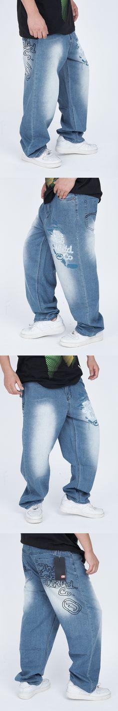 Men's clothing water wash pants hiphop jeans male loose plus size hip-hop hiphop skateboard trousers 6XL 5XL 4XL 3XL 2XL