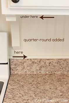 Under-cabinet trim close-up from 'Love Of Family & Home: Beadboard Backsplash, Corbel Love, & A Few Other Kitchen Updates...'