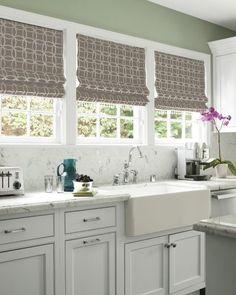 Idea For Kitchen Window Roman Shade on idea treatment window kitchen curtains, french stripe roman shade, idea window shade structure,