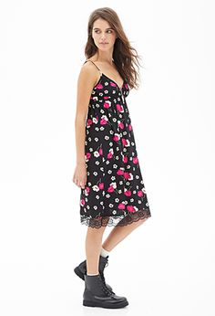 Painted Floral Slip Dress | FOREVER21 - 2000101457