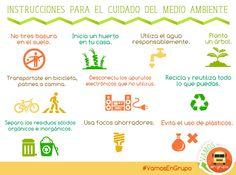 Instrucciones para el cuidado del medio ambiente.