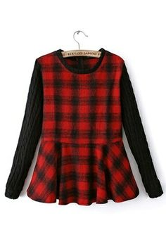 New Look Red Plaid Slim Sweater