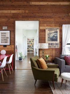 Wood cladding & dark wood flooring throughout.