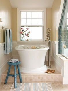 Bathroom ~ love the unexpected way this tub is tucked into the corner of the room and the oversized faucetry.