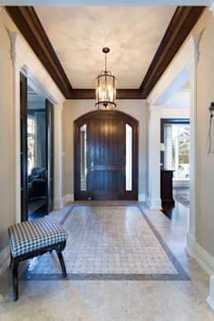 Texture and style: classic Corridor, hallway & stairs by Frahm Interiors Entrance Foyer, Oversized Mirror, Beautiful Homes, Burlington Ontario, Stairs, Cottage, Ceiling Lights, Explore, Elegant