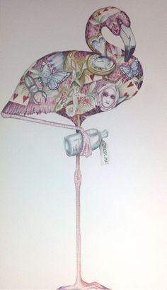 Alice In Wonderland Art Original Painting Alice's croquet the Flamingo Signed
