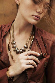 W+Co // Multi-Hex Brass & Crystal Necklace #wanderlustandco