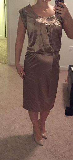 New VICTORIA Secret Moda International Gold Satin Midi Dress Size Small  #ModaInternational