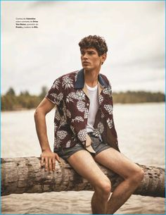 Arthur Gosse goes casual in a pineapple print Valentino shirt with a Dries Van Noten shirt and Prada shorts.