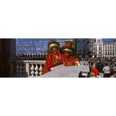 People in traditional costumes in a carnival Venice Carnival St Marks Square Venice Veneto Italy Canvas Art - Panoramic Images (27 x 9)