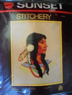 Sunset Stitchery Indian Princess Crewel Kit 2219 Vtg 1979 for sale online Indian Princess, Embroidery Kits, Sunset, Painting, Ebay, Art, Craft Art, Paintings, Kunst