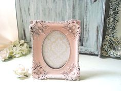Coral Ornate 5 x 7 Picture Frame, Wedding Table Number Frame, Light Peach Blush…