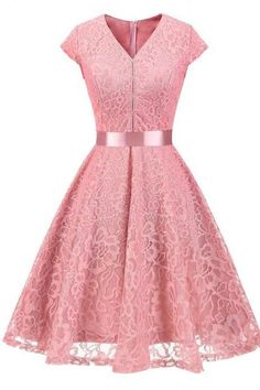 Women V-Neck Floral Lace Dress Belted Cap-Sleeve A Line Cocktail Work Office Party Dress pink Lace Up Back Dress, Lace Dress With Sleeves, Floral Lace Dress, Cap Sleeves, Tulle Lace, Lace Dresses, Dresses Dresses, Floral Sleeve, Casual Dresses