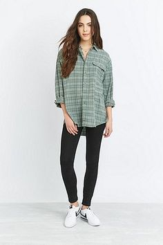 Urban Renewal Vintage Customised Overdyed Mint Plaid Flannel Shirt - Urban Outfitters