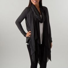 Drape Front Cardigan with Scarf