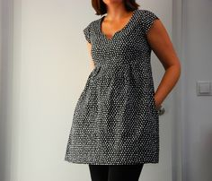 Made by Rae Washi Dress in Monaluna Black Polka Ott Fabric
