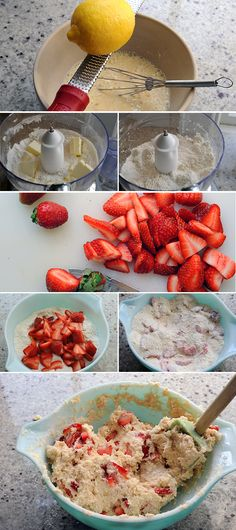 Strawberry Scone Recipe made with fresh strawberries, lemon zest and Greek yogurt. They are so good!