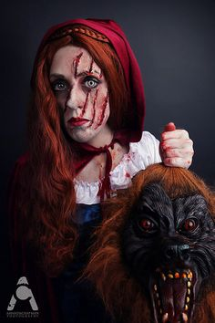 This is an awesome costume idea! I would do this for a creepy red riding hood costume