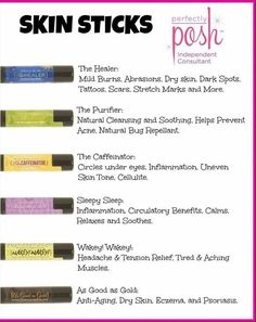Check out these fabulous skin sticks from Perfectly Posh! They work wonders in healing stretch marks, scars, headaches, muscle pain, psoriasis, bug bites and so much more!! https://www.perfectlyposh.com/lillicollins